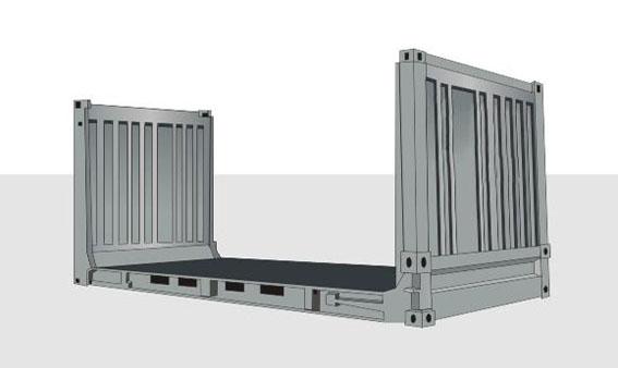 20-футовый контейнер FLAT RACK с торцевыми стенками