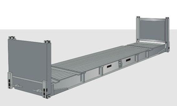 40-футовый контейнер FLAT RACK с торцевыми стенками
