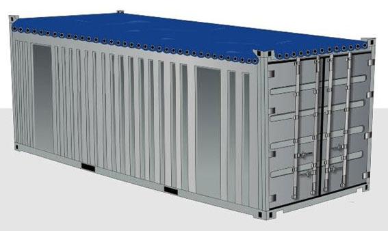 20-футовый (стальной) контейнер OPEN TOP с открытым верхом
